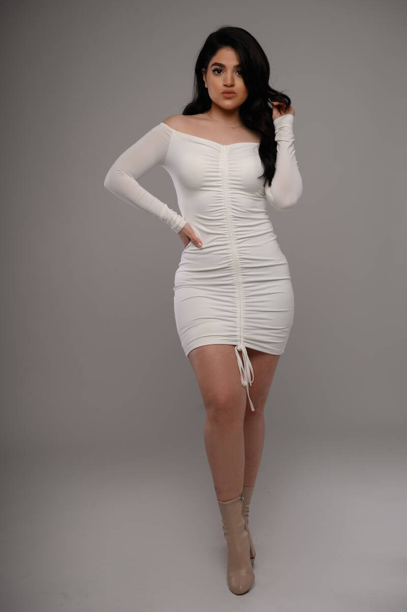Scarlet Ruched-up dress - WHITE