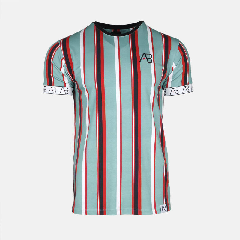AB Lifestyle - AB Striped Tee - Green/ Red