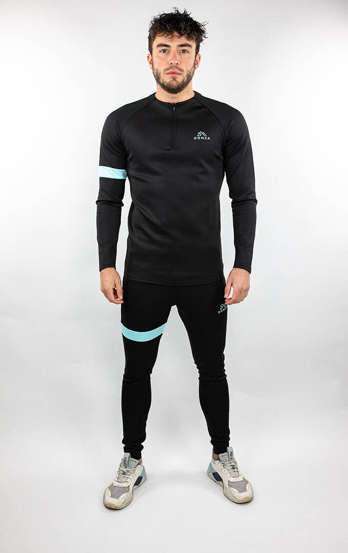 DONZA - POLYESTER SUIT - BLACK/BLUE
