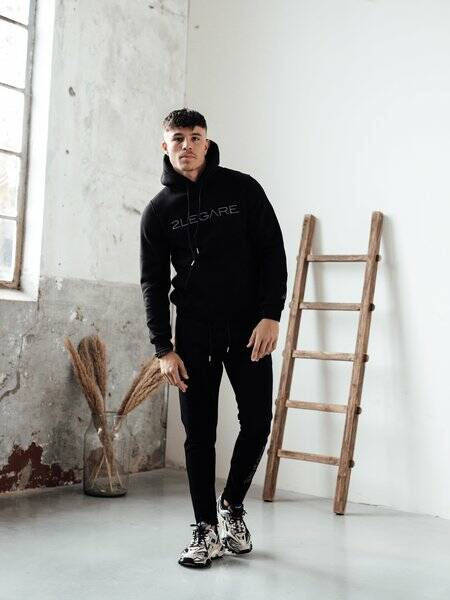2LEGARE - LOGO EMBROIDERY TRACKSUIT - BLACK/ ANTRA