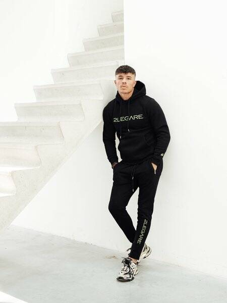 2LEGARE - LOGO EMBROIDERY TRACKSUIT - BLACK/ NEON YELLOW