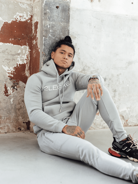 2LEGARE - LOGO EMBROIDERY TRACKSUIT - GREY/WHITE
