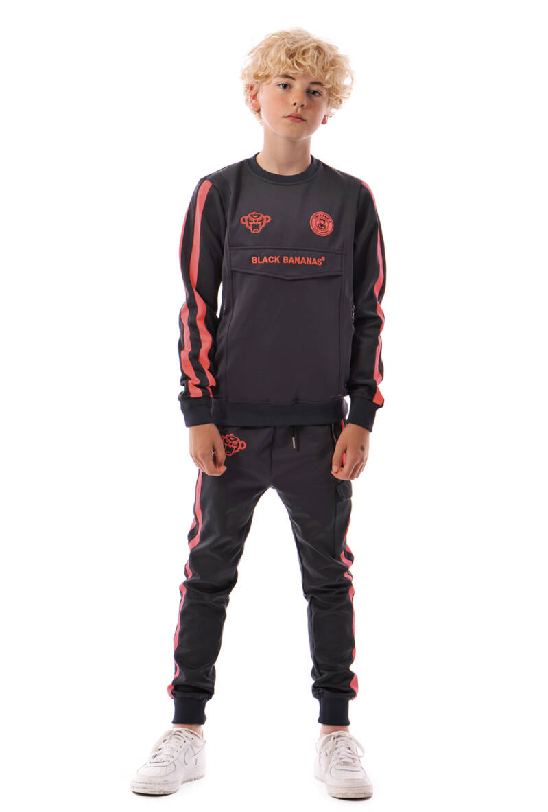 Black Bananas JR - Neon Crew Tracksuit - Grey/Pink