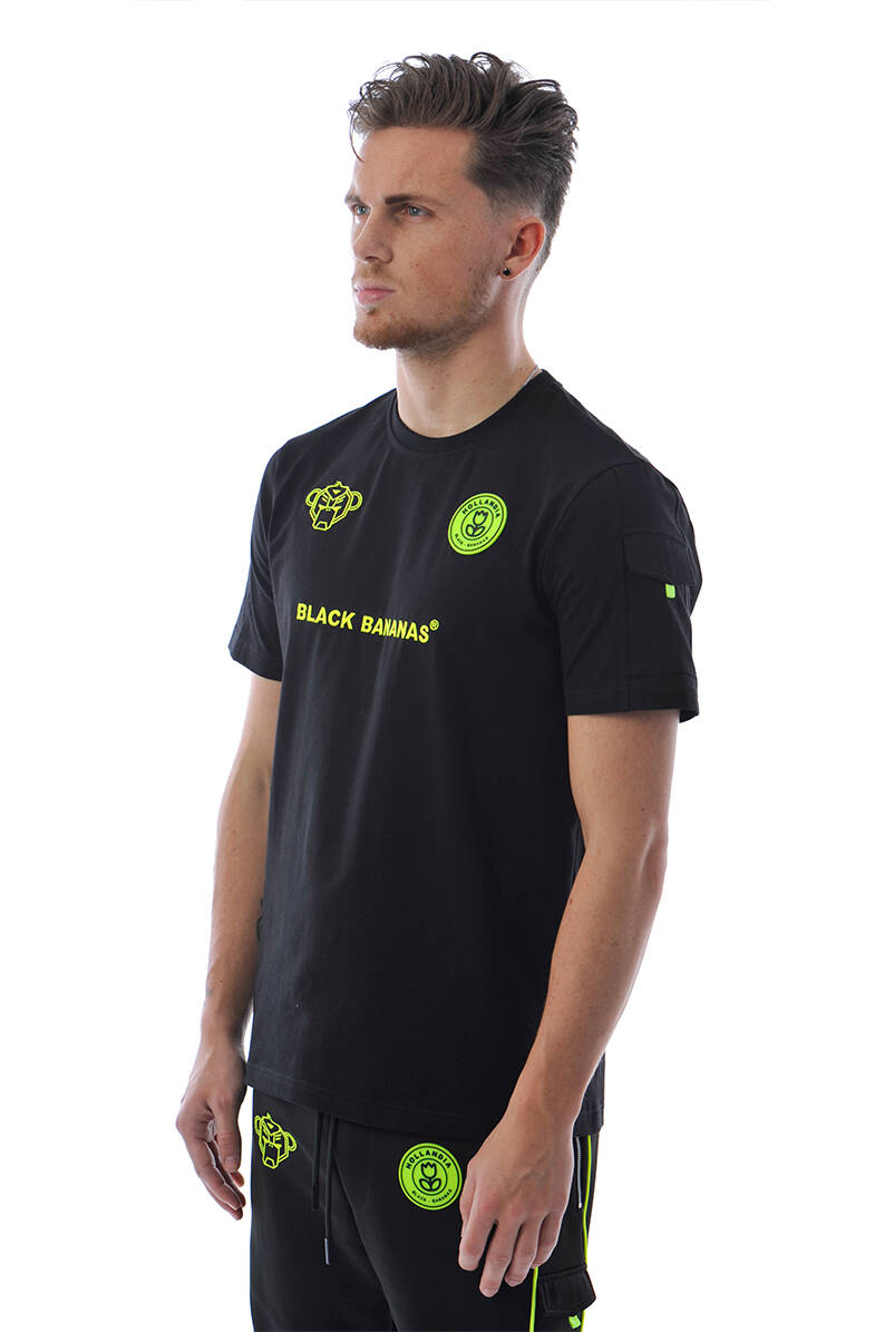 Black Bananas - F.C. Striker Tee - Black/ Neon Yellow