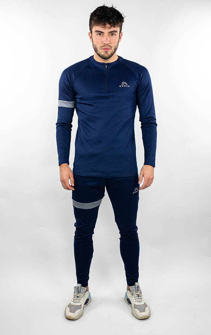Donza - Polyester Tracksuit - Navy/ Grey