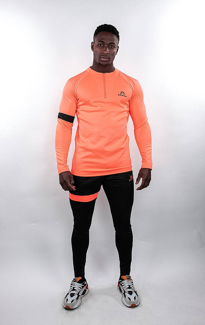 Donza - Polyester Tracksuit - Peach/Black
