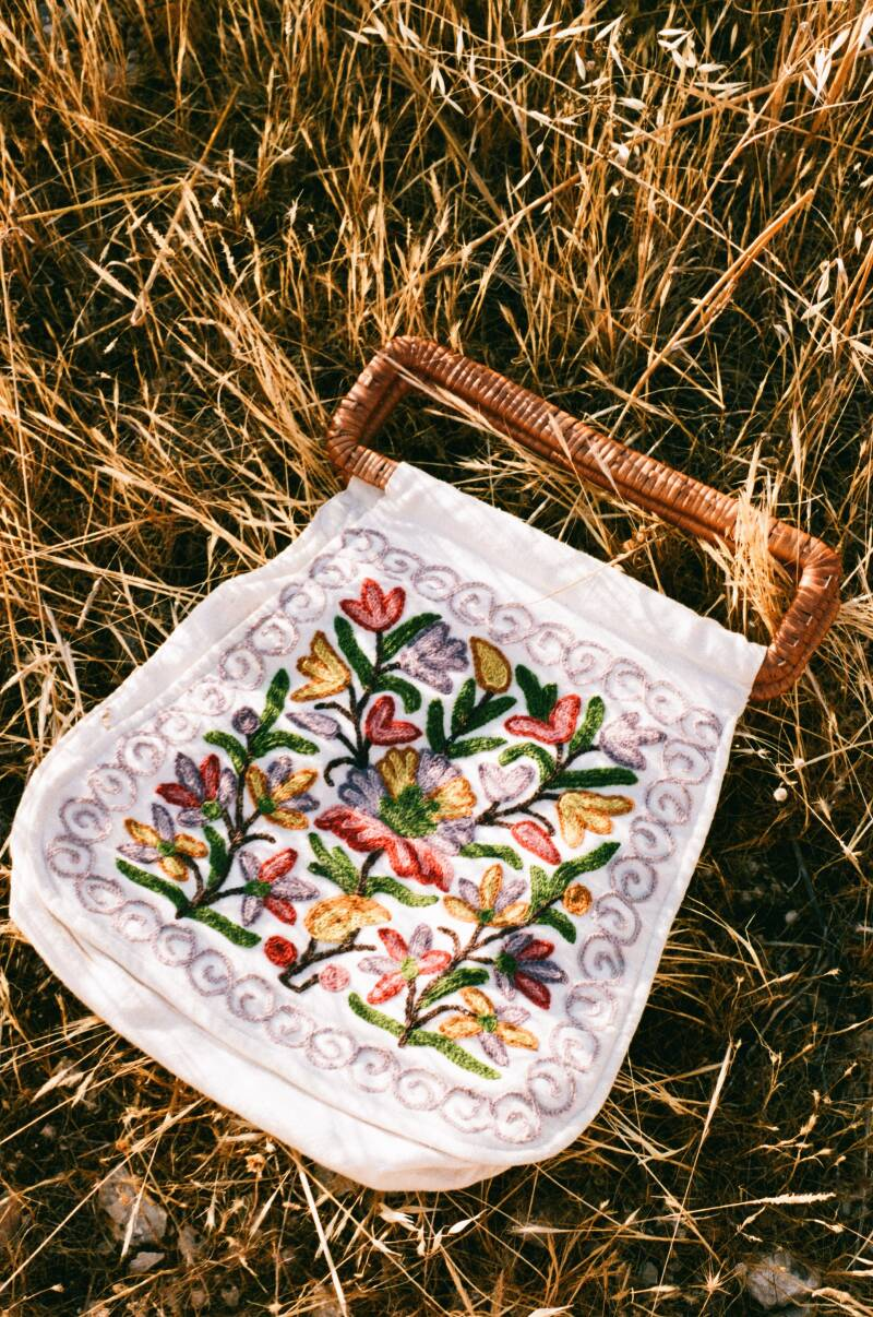 Mexican embroidered bag with rattan