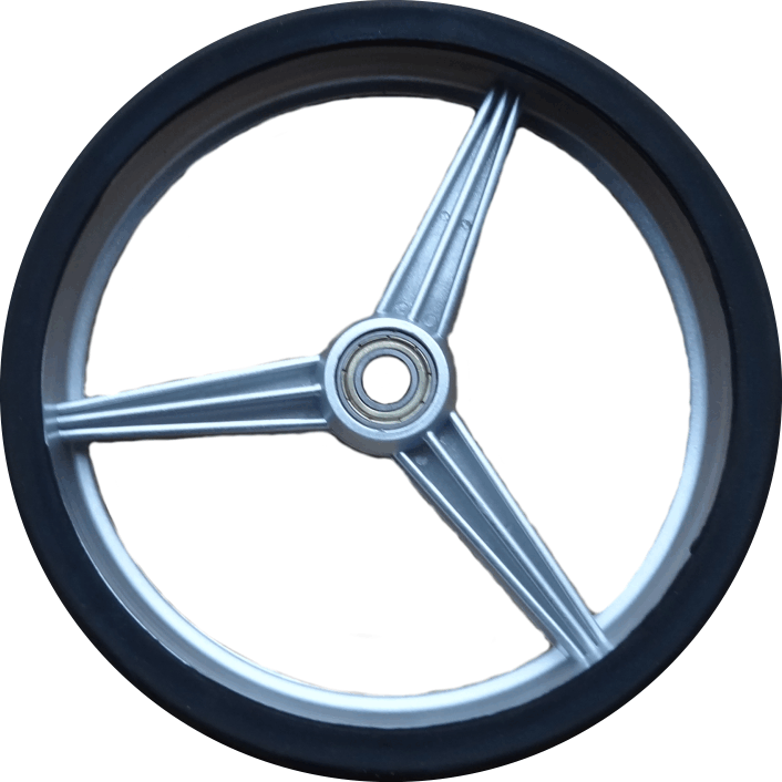 Front wheel stainless steel trolley, including rubber tire.