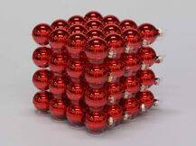 Bauble 64pcs. Red Glossy 40mm