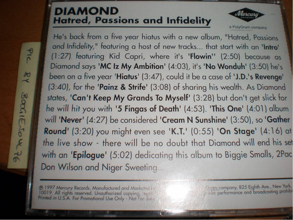Diamond – Hatred, Passions And Infidelity CD