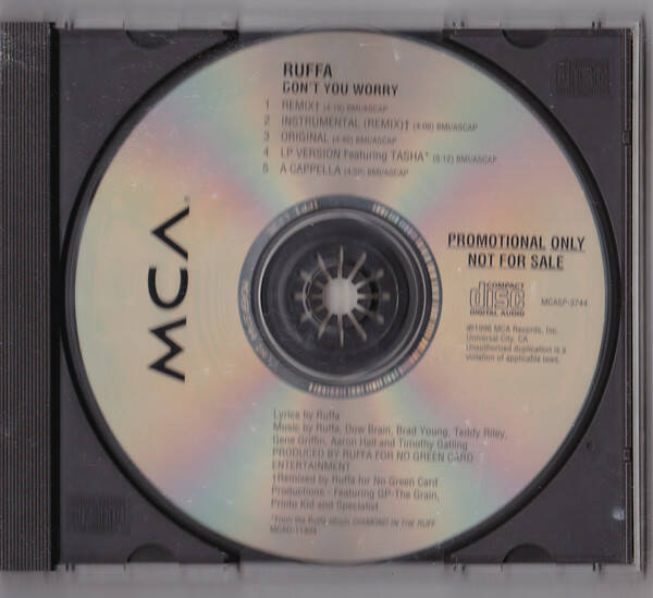Ruffa Featuring Tasha ‎– Don't You Worry (Remix) (Maxi-Single) CD