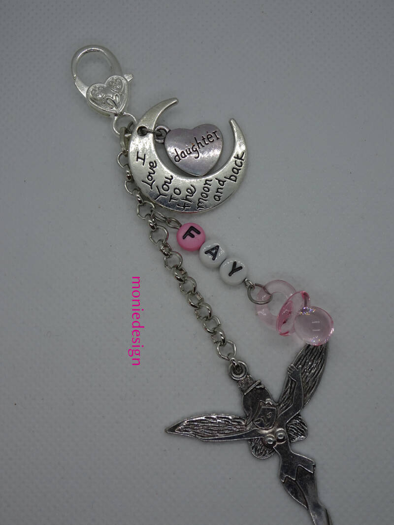 Super leuke meisjes tas/luiertas hanger met naam ( I love you to the moon and back)