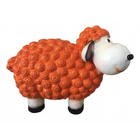 AZ60Funny Zwart cartoon schaap orange polyester résine 60 cm