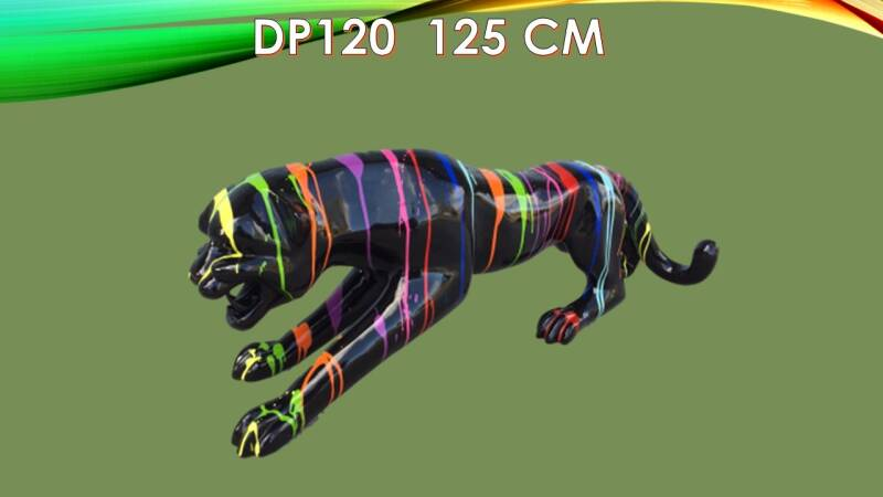 DP120 Jungle  panther zwart drop multicolor polyester résine 120 cm