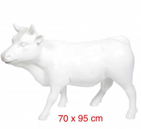 DHD A1402 koe of stier polyester résine  wit 70 x 95 cm