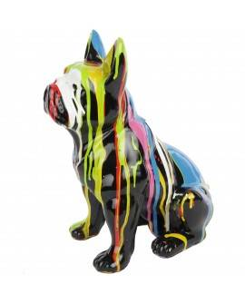 DHC49 Hond France Bulldog zit multicolor drop zwart of wit polyester résin 40cm