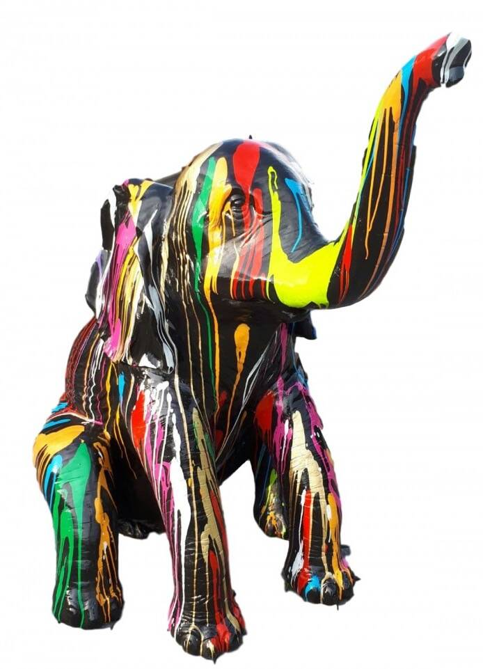 A1408 jungle olifant zit  multicolor drop polyester résine 144 x 136 cm