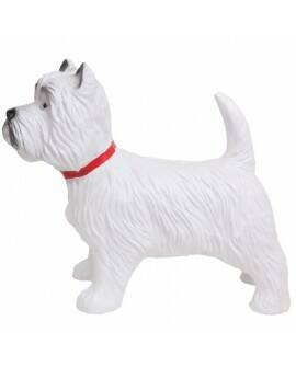 Hond Cezar  west Highland white terrier staand wit polyester résine 40 cm