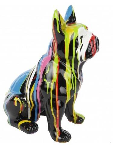 DHC90  France bulldog hond zit multicolore zwart of wit drop 35 cm