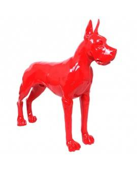 DHC61 Hond Deense dog staand rood of wit  polyester résine  120 x 100 cm