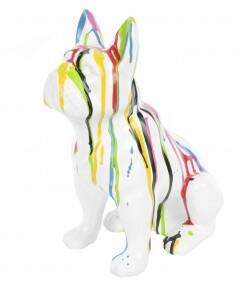 DHC90 France bulldog hond zit multicolor wit  drop polyester résine 35cm