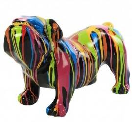 DHC21 hond Engelse bulldog wit multicolor drop 30 x 60 cm