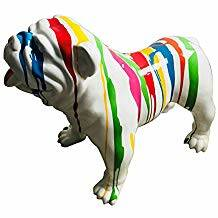 Az206 Hond Engelse bulldog wit of zwart multicolour drop polyester résine 60 x 90 cm
