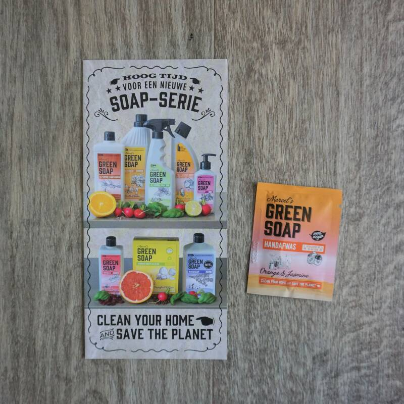 Marcel's Green Soap Flyer + Afwasmiddel Sinaasappel & Jasmijn 5 ml
