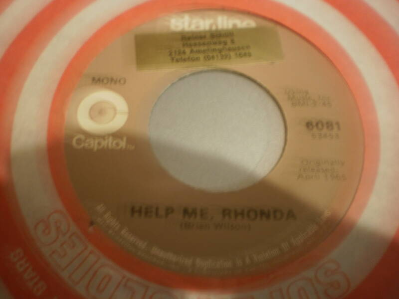 Single The Beach Boys - Help me Rhonda