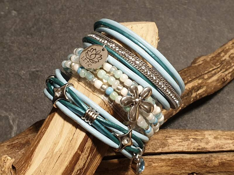 "Armband set ""summer glow"" turkoois"
