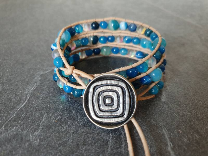 "Bohemian armband ""triple wrap"" agaat"