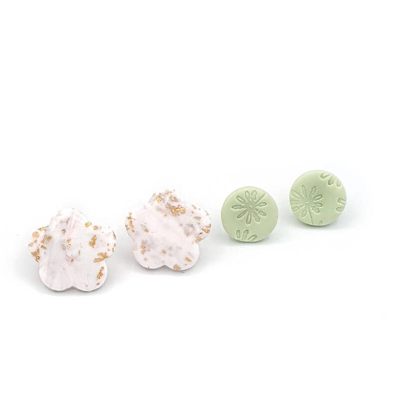 Studs set Spring Fever Pale Lime -A