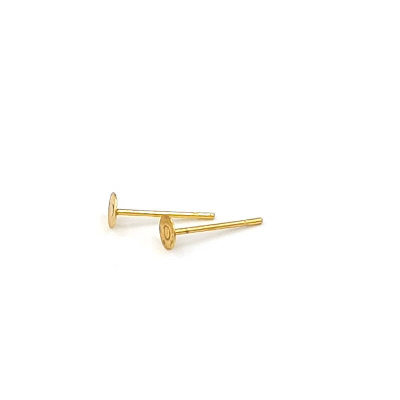 20 pc stainless steel earring posts 4mm (gold)