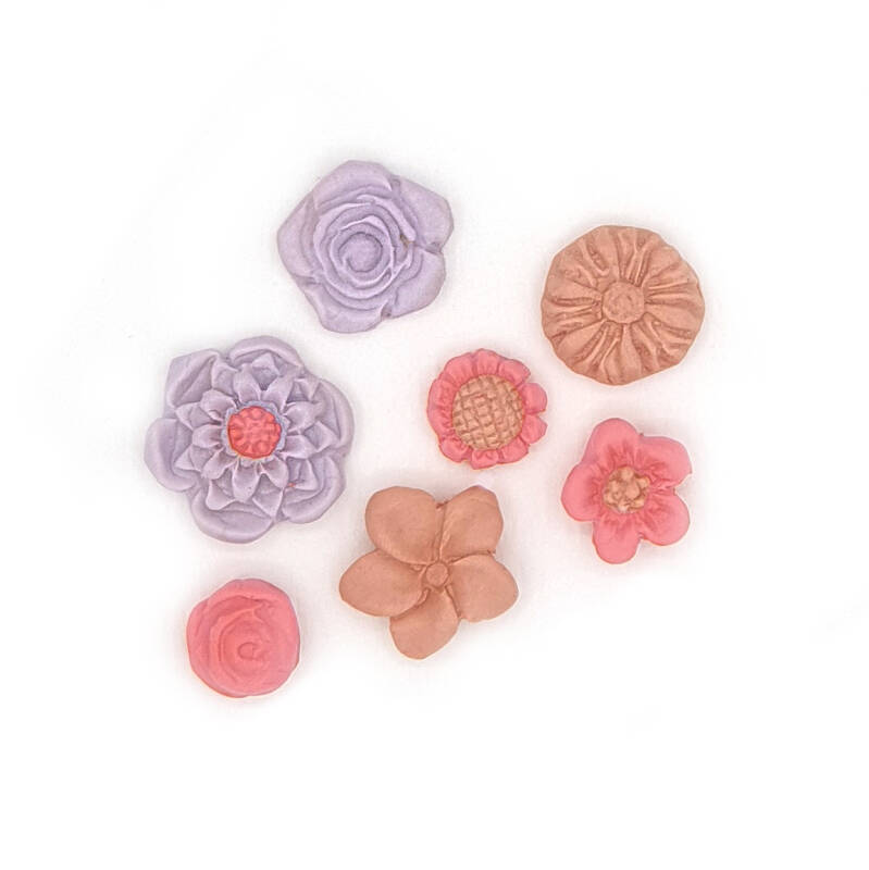 Silicone mold of 7 little flowers