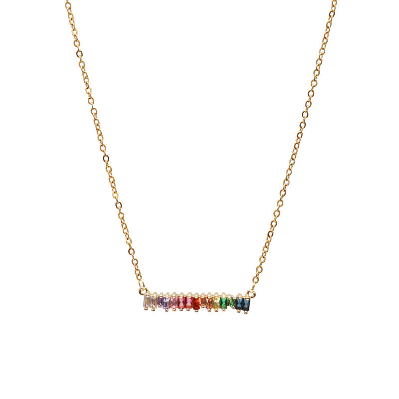 Ketting - Strass stone bar goud