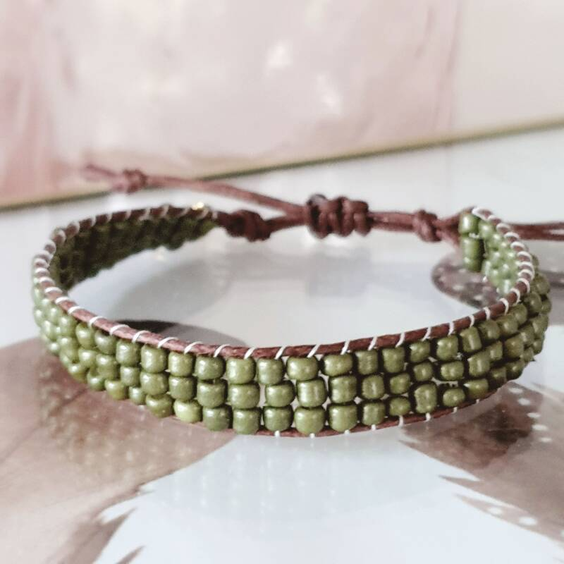 Armband - Rocailles Loom Army Green