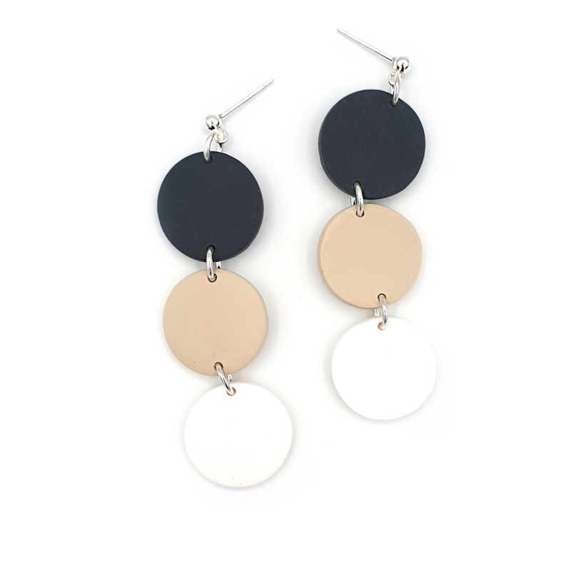 3 disc Black-Beige-White (925 sterling zilver)