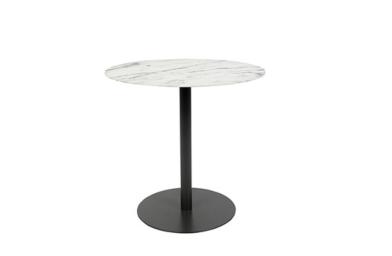 Side table snow round marble and black M
