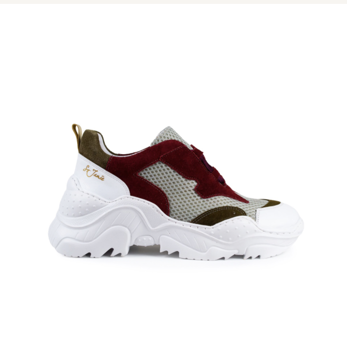 Chunky Sneakers – Beige/Red