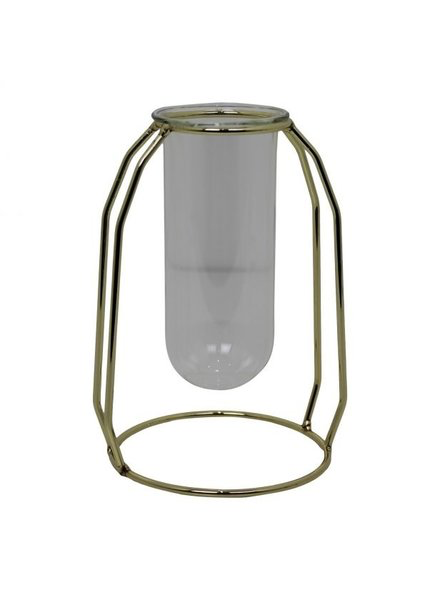 Tube Vase in Metal Holder Gold 16c