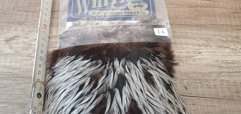 Whiting American hackle Rooster Cape silver badger NR34