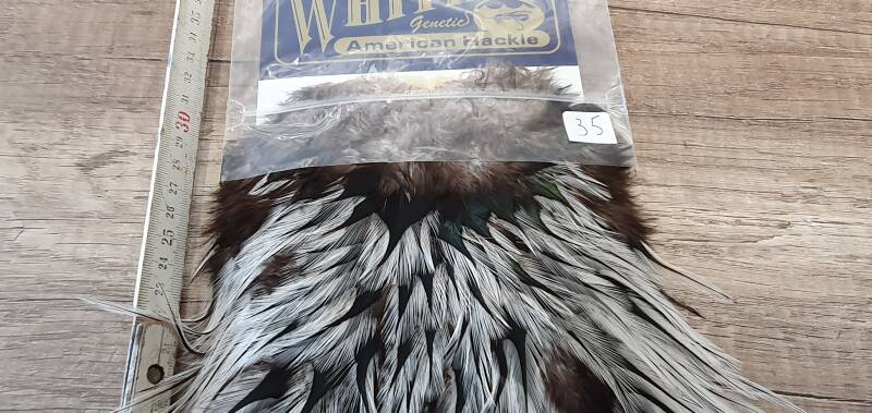 Whiting American hackle Rooster Cape silver badger NR35