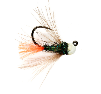 White Bead Red Tag Jig Barbless