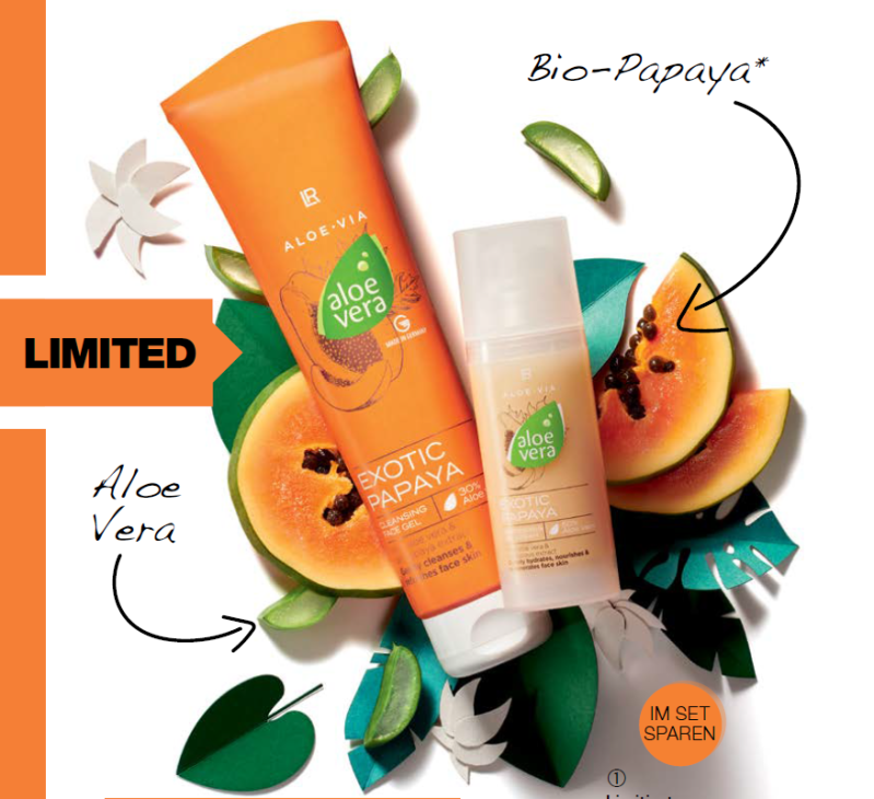 LR ALOE VIA Limitiertes Aloe Vera Exotic Papaya Face Care-Set
