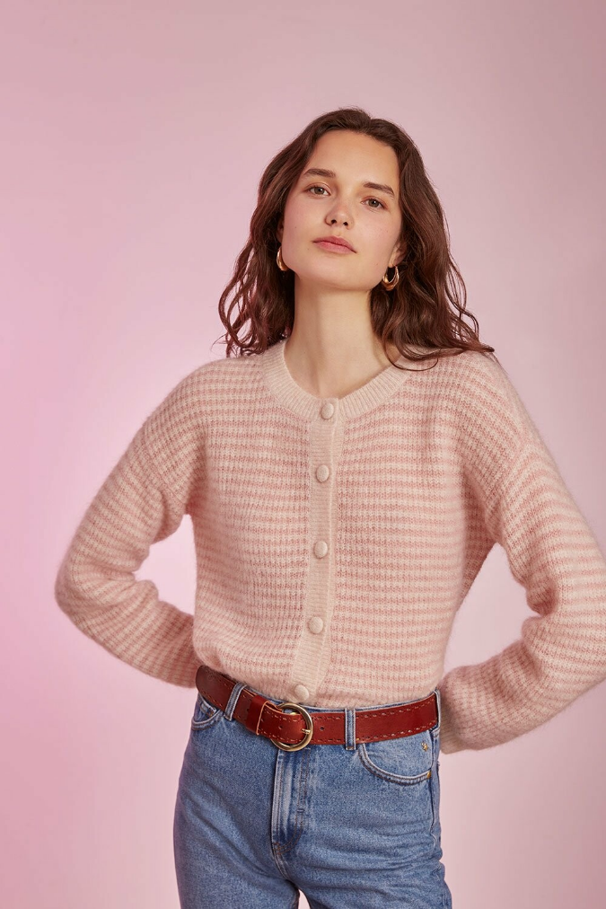cooky cardigan stripes pink / white