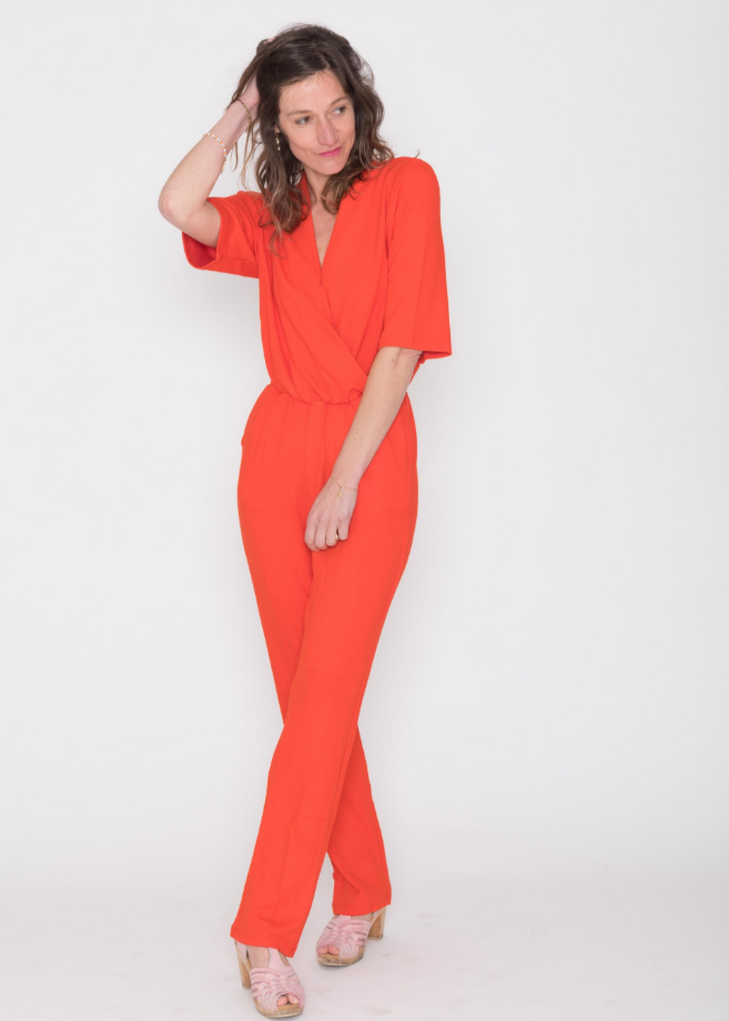 soaked in luxury jumpsuit tangerine red