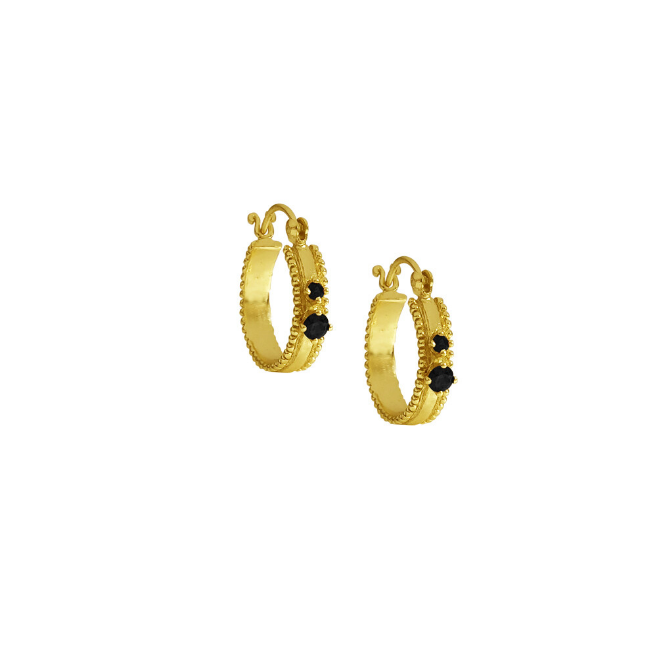 earring double onyx gold (pair)