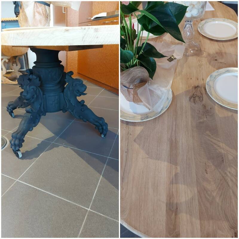 SOLD  Oak table with claw feet on wheels