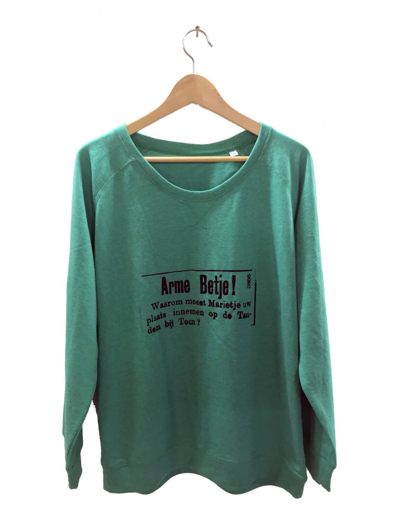 Sweater -Advertentie Betje- Heather Green. Maat XXL. Lovely Lady.