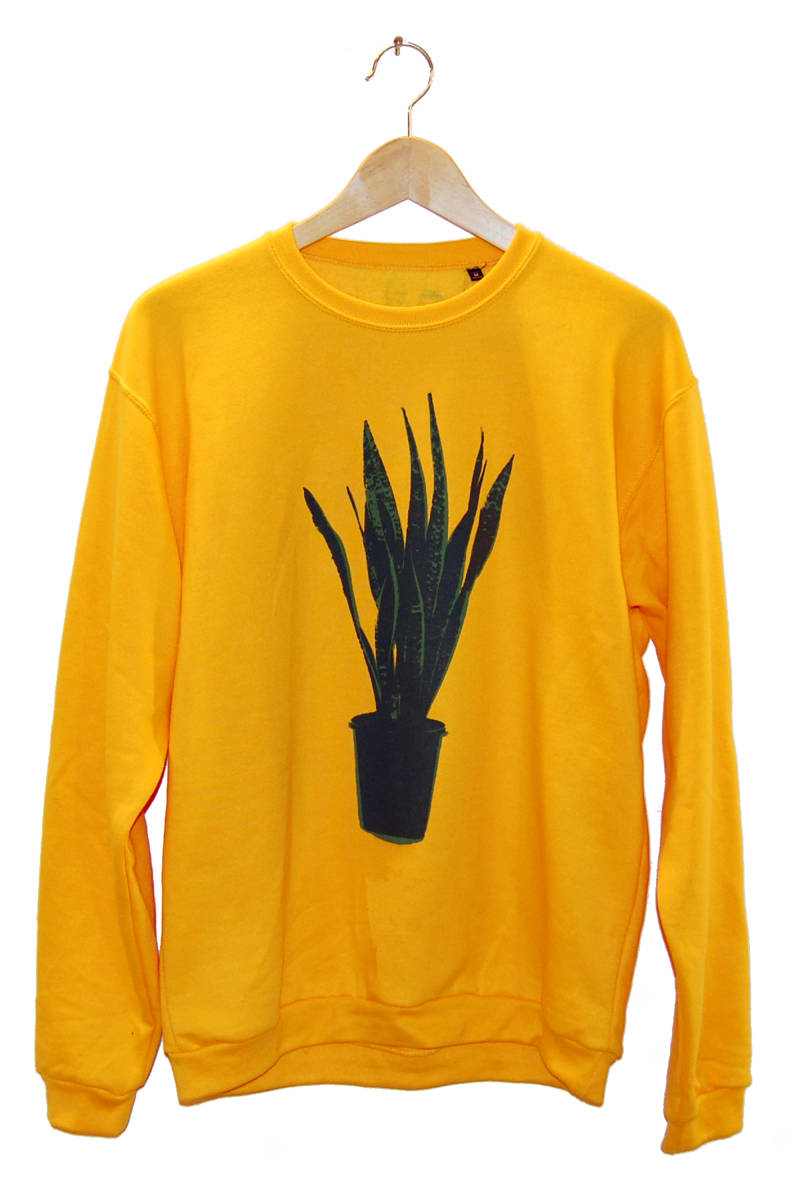 Sweater -Sanseveria-, gold/geel. Maat L